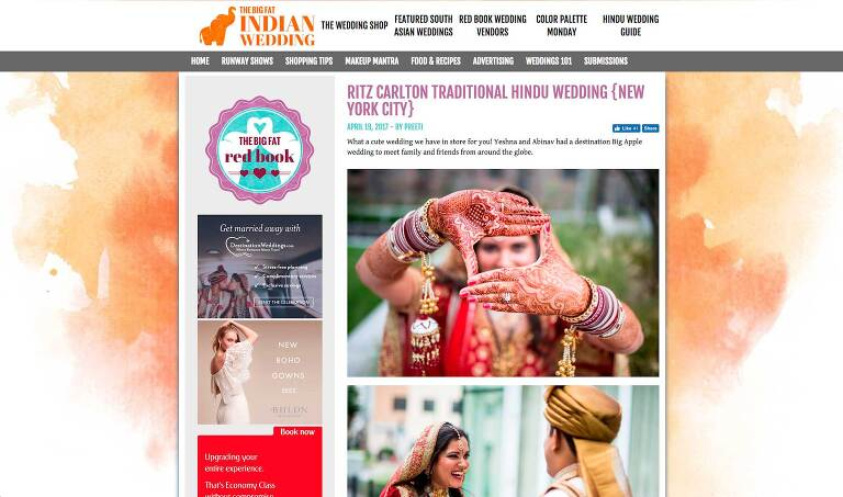 A New York Indian wedding featured on The Big Fat Indian Wedding