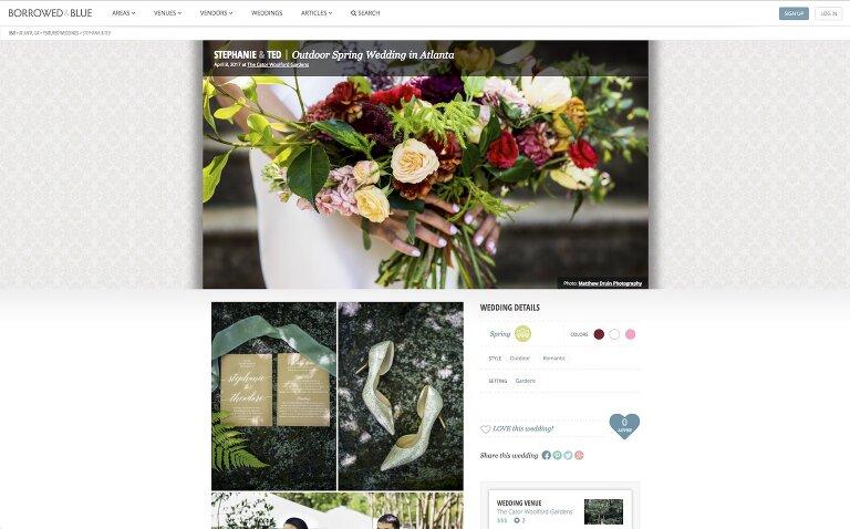 outdoor spring Atlanta wedding featured on Borrowed + Blue Weddings