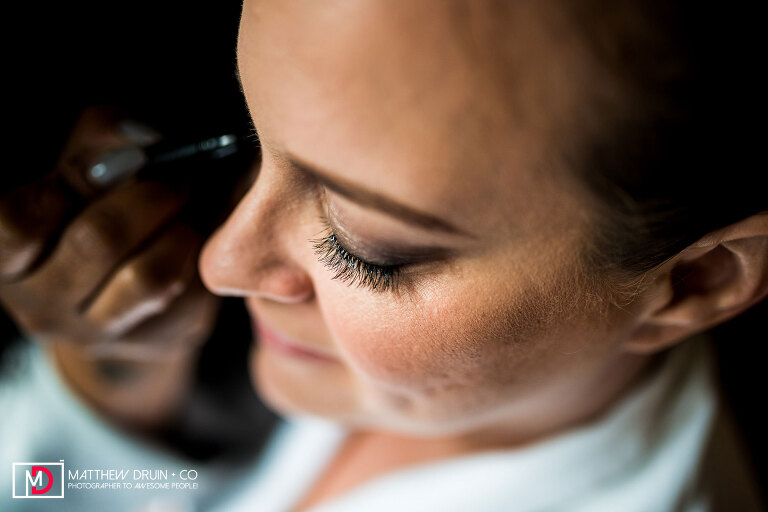 Photo of bride's eyelashes from able for New York City wedding at Brooklyn Bridge Park