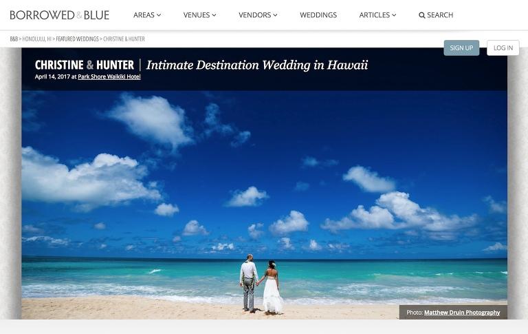 A destination Waikiki wedding featured in Borrowed & Blue Weddings