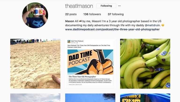 3 year old photographer theatlmason on Instagram