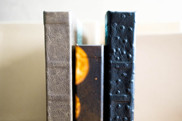 Elite Custom luxury Wedding Albums spines featuring leather, metal, and canvas covers