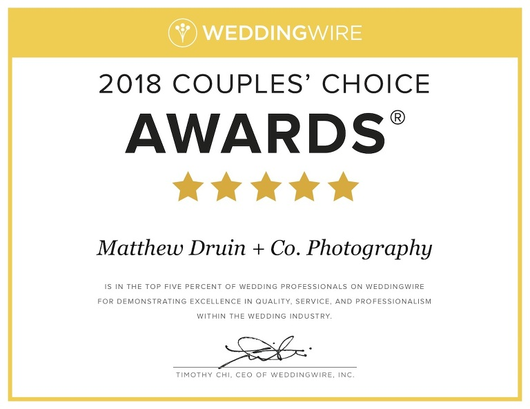 Award winning wedding photographers, Matthew Druin + Co. Photography, Atlanta WeddingWire Award Couples' Choice 2018 Winners for the 7th year in a row.