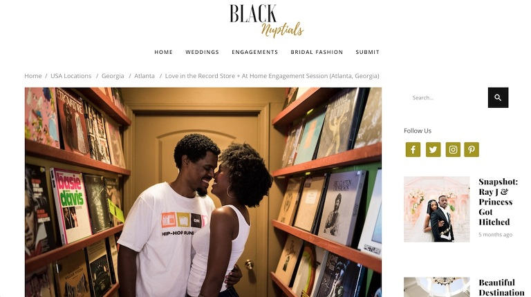 An at home Atlanta engagement session featured in Black Nuptials weddings