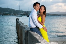 Engaged couple on beach in St. Croix from destination wedding photographers Matthew Druin + Co